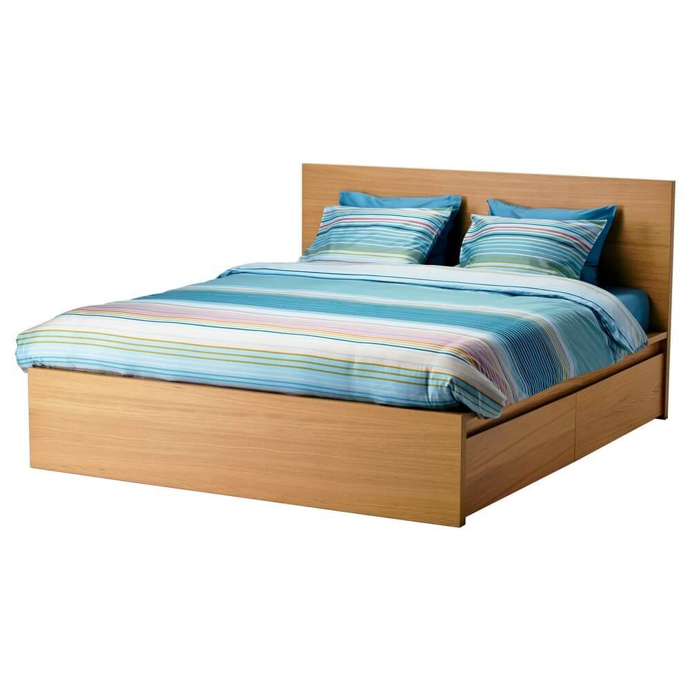 Высокий каркас кровати с 4 ящиками МАЛЬМ