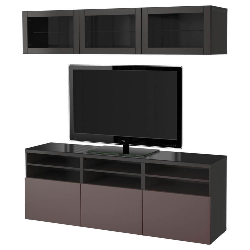 Шкаф для ТВ, комбинация (стеклянные дверцы) БЕСТО
